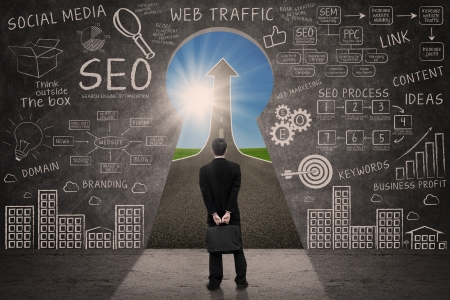 Businessman looking through keyhole with success road with SEO business doodle on blackboard Stock Photo - 22148867