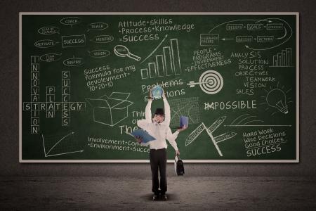 juggling: Businessman multitasking with business doodle writings on blackboard