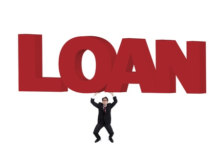 finance a helping hand confusion: Businessman is shouting for help to get some loan isolated in white  Stock Photo