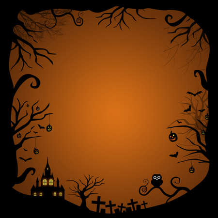 Halloween border for design with scary house glowing in the night at graveyard photo