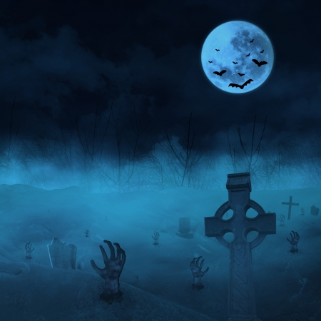 Halloween background with zombies and full moon at graveyard. photo