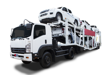 car carrier: A big delivery truck  Stock Photo
