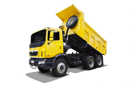 dump truck: Yellow dump body truck  Stock Photo