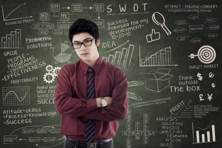 trigonometry: Asian businessman standing over success formula. Shot in the class Stock Photo