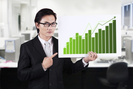 Asian businessman in suit holding board and pointing a chart in office photo