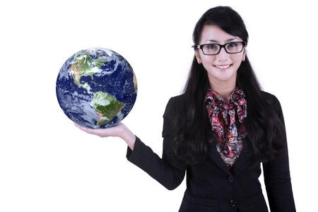 environmental suit: Businesswoman is holding world globe on white background Stock Photo