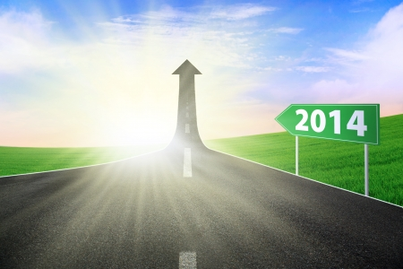 The highway road to new future, symbolizing as the way to the new journey in 2014 photo