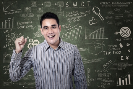 Happy asian man with arms up on chalkboard photo