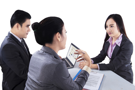 filipino adult: Recruiter checking the candidate during job interview Stock Photo