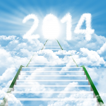 Illustration of a ladder leading upward to the new year 2014 illustration