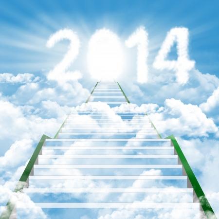 Ilustracja drabiny prowadzącej w górę do nowego roku 2014