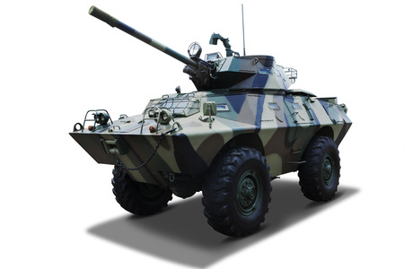 militarily: Military tank on white background