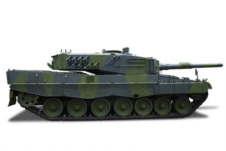 Retro military tank isolated on white background photo