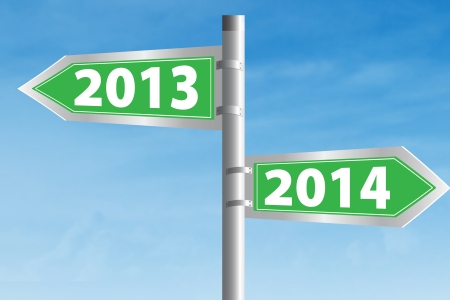 Going ahead to year 2014 and leaving the year 2013 behind Stock Photo - 22961559