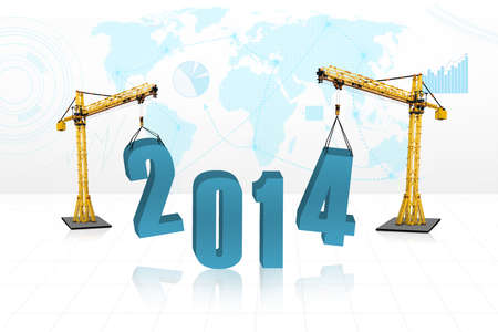 Building the new year 2014 with blue world map background photo