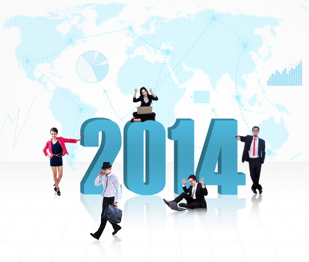 Business people with the new year 2014 on world map background photo