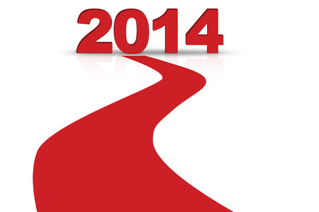 A red line forward to 2014 new year Stock Photo - 22961033