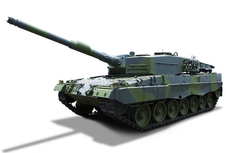 militarily: Russian tank isolated on white background