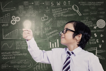 Business kid is holding lit bulb with drawn formula in class photo