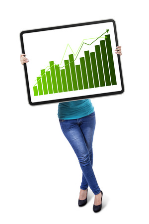 Young woman with growth graph on board photo