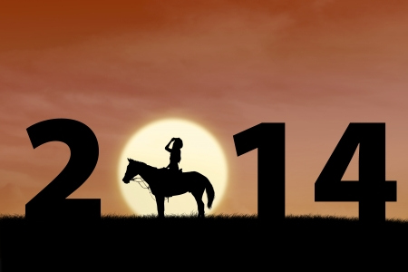 Silhouette of horse rider at sunset with 2014 outdoor Stock Photo - 23394052