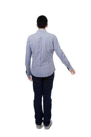 Back view of young businessman. Isolated on white background photo