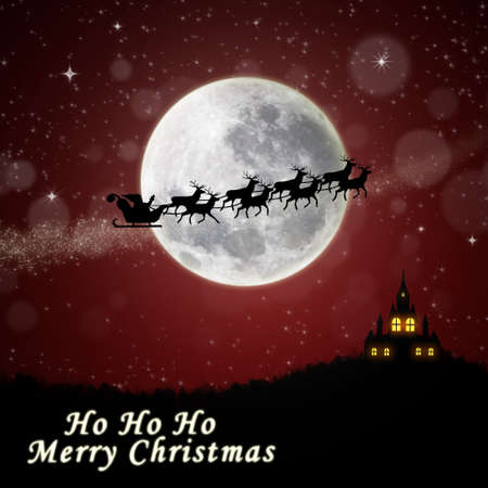 nightime: A Christmas illustration of Santa delivering gifts on Christmas Eve night Stock Photo
