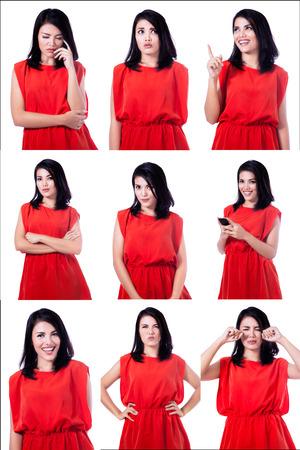 many people: Mujer asi�tica con diferentes expresiones aisladas sobre fondo blanco Foto de archivo