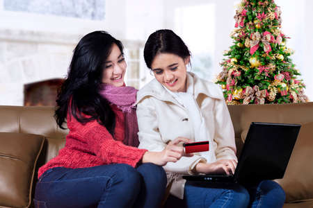 Happy two young woman shopping online with laptop near Christmas tree photo