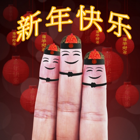 Happy finger smileys in a theme of chinese new year photo