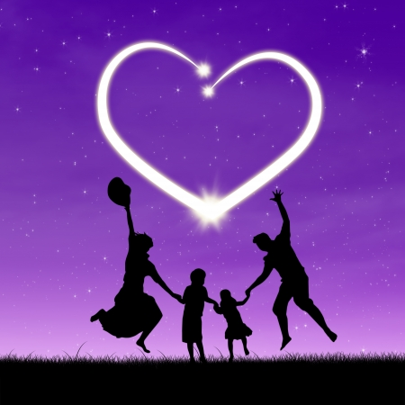 joyful: Silhouette of a happy family enjoying valentines day in the night