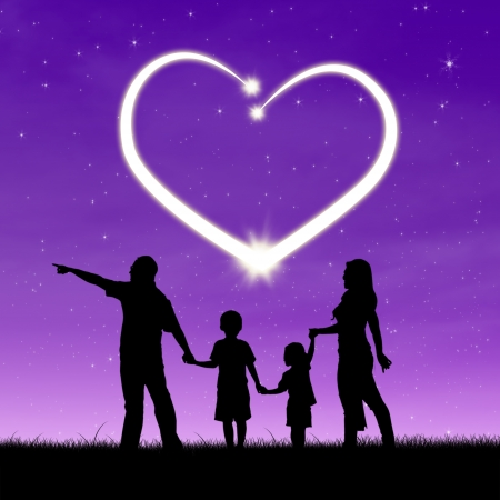 happiness people silhouette on the sunset: Silhouette of a happy family walking in the park with heart in the sky
