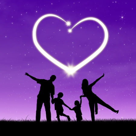 heart under: Silhouette of a happy family enjoy time together under shiny heart