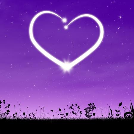 Abstract night sky with shiny heart photo