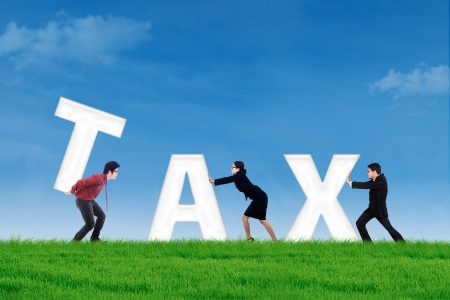 Group of business team builds or complete a tax word on the green field photo