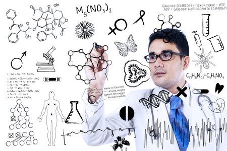 doctor writing: Close up of doctor is writing medical concept on transparent whiteboard Stock Photo