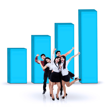 profit celebration: Portrait of successful businesspeople with a business chart. isolated on white background Stock Photo