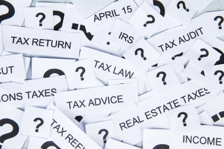 tax law: Tax concept with text of tax and question mark Stock Photo