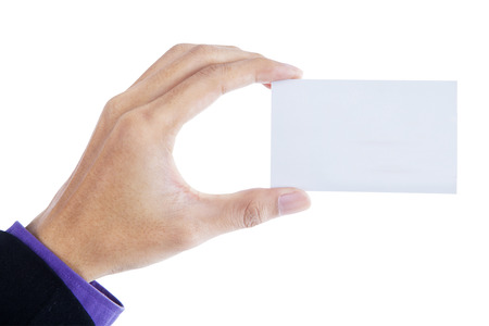 Hand showing a blank business card photo