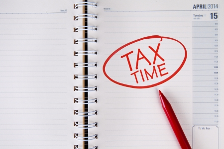 Tax time written in red into an agenda