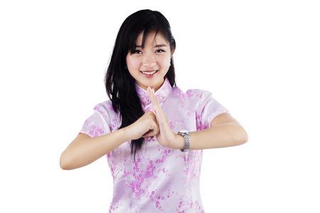 congratulate: Pretty young girl congratulate you a chinese new year Stock Photo