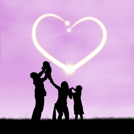affectionate: Images of silhouette of happy family with heart symbol of love
