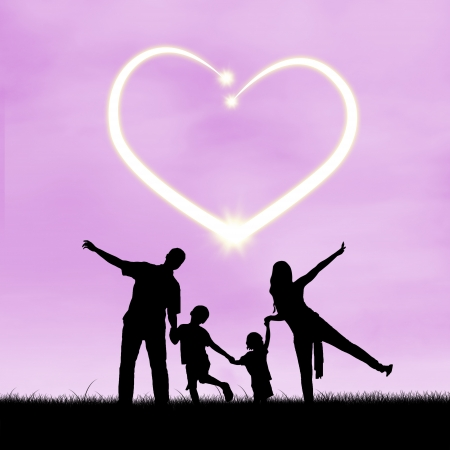 Images of silhouette of happy family with heart symbol of love photo