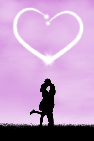 seduction: Silhouette of romantic couple with heart symbol of love Stock Photo