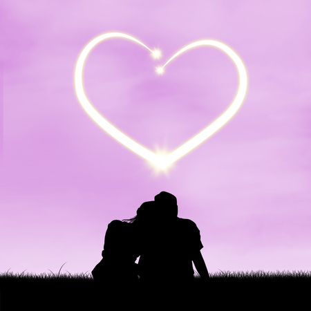 sweethearts: Silhouette of romantic couple sitting looking at a heart shaped stars in the sky