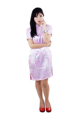Portrait of asian woman with worried expression photo