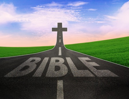 spiritual journey: Road with the word Bible leading to the cross