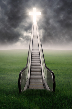 An escalator to the cross on green field with cloudscape photo