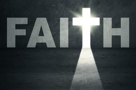 simbolos religiosos: Puerta de la fe abierto con la luz brillante