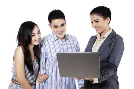sales agent: Happy couple and a consultant discussing together